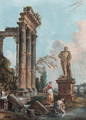 A capriccio with the Temple of Concord and the Farnese Hercules - Jean-Baptiste Lallemand