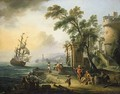 A capriccio of a Mediterranean port with oriental figures, a man-o-war at sea beyond - Jean-Baptiste Lallemand