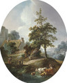 Landscape with a young boy and a shepherdess with cows and sheep - Jean-Baptiste Huet