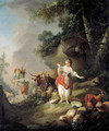 Les oeufs casses A shepherdess startled by a drover and his cattle in a pastoral landscape - Jean-Baptiste Huet