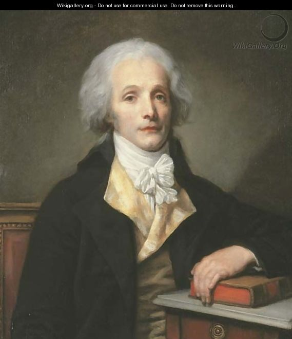 Portrait of Nicolas-Pierre-Baptiste Anselme, called Baptiste ane (1761-1835), half-length, in a black coat over a yellow waistcoat - Jean Baptiste Greuze