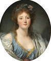 Portrait of Madame de Viette, bust-length, in a blue dress and white wrap - Jean Baptiste Greuze