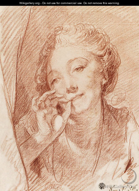 A young woman appearing behind a curtain, her hand at her mouth - Jean Baptiste Greuze