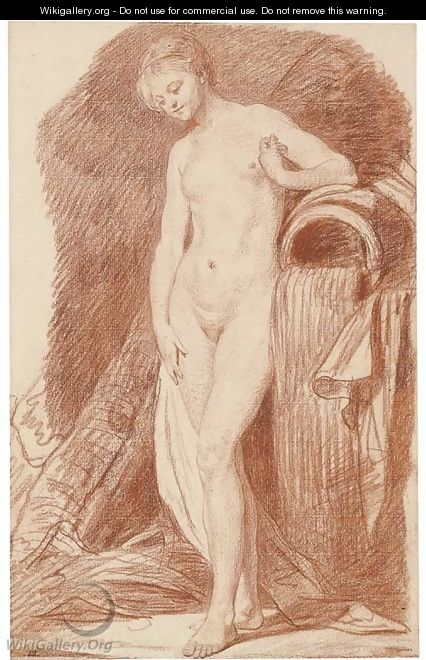 A nude woman standing by an urn - Jean Baptiste Greuze