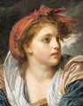 A girl, bust length, wearing a red headscarf - Jean Baptiste Greuze