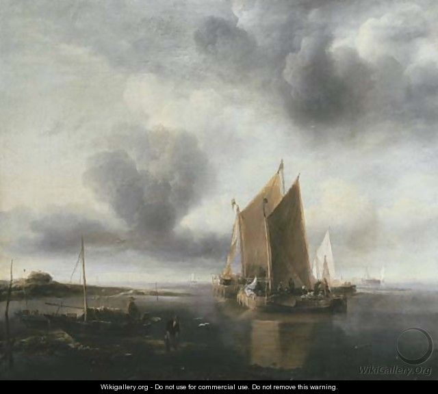 Two smalschips and other shipping off a sandbank in a calm - Jan Van De Capelle