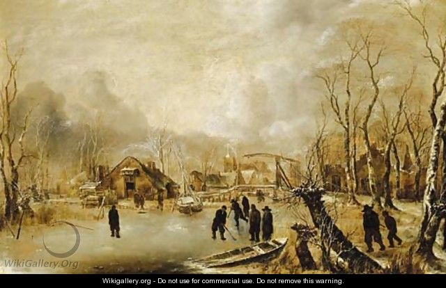 A winter landscape with skaters and kolf players on a frozen waterway by a village - Jan Van De Capelle