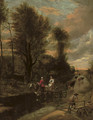 A horse-drawn cart with two women travelling down a flooded road at the edge of a wood - Jan Siberechts