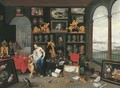 An Allegory of Sight a collector's cabinet, a view of Antwerp beyond - Jan van Kessel