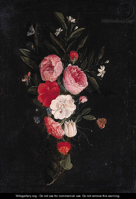 A swag of roses, carnations and other flowers - a fragment - Jan van Kessel