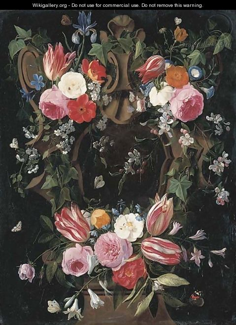 A garland of tulips, roses, morning glory, an iris, clematis and other flowers surrounding a sculpted stone cartouche with a red admiral - Jan van Kessel