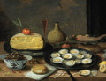 A breakfast still life of oysters on a pewter plate, a half cheese, bread, hazelnuts, chestnuts, lemons, mandarins, a fish, a pepper pot - Jan van Kessel