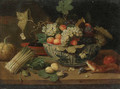 A bowl of fruit, a bundle of asparagus, an artichoke, a bowl of figs, a squirrel, a melon and a sprig of plums on a ledge - Jan van Kessel