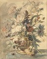 Flowers in a terracotta urn on a marble ledge, a snail to the left - Jan Van Huysum