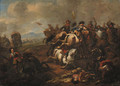 A cavalry battle between Christians and Turks - Jan von Huchtenburgh