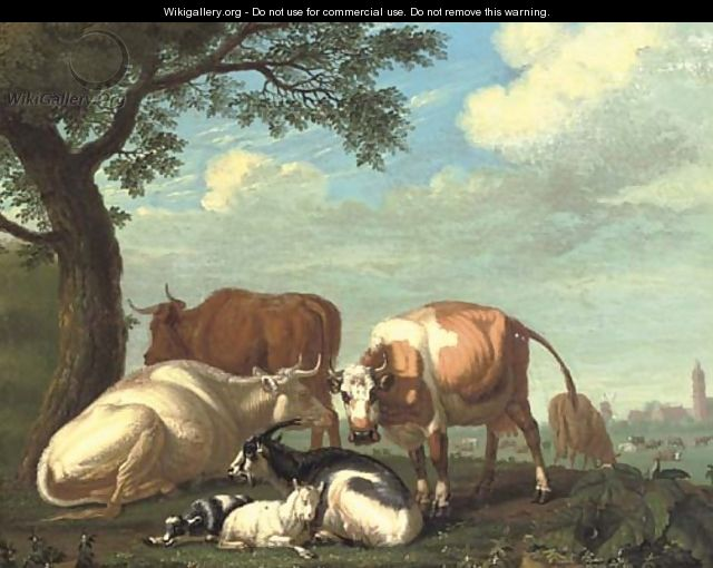 Cows and goats resting by a tree, a village beyond - Jan van Gool