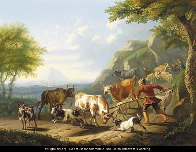 An Italianate landscape with a herdsman and his dog restraining a bull - Jan van Gool