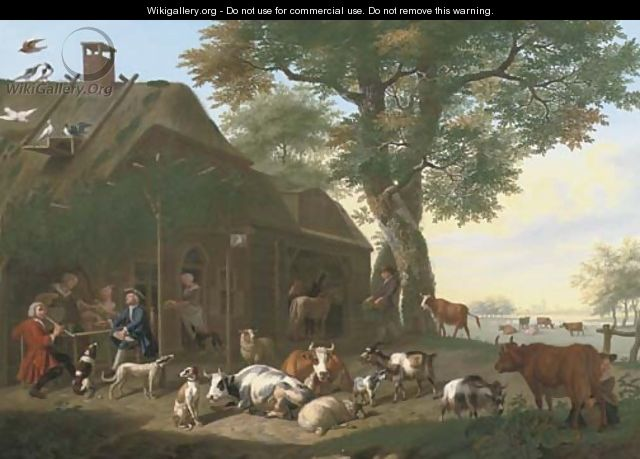An elegant company by a tavern, with cows, sheep, goats and other animals - Jan van Gool