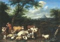 A wooded landscape with a herdsman and shepherdess resting with their flocks - Jan van Gool