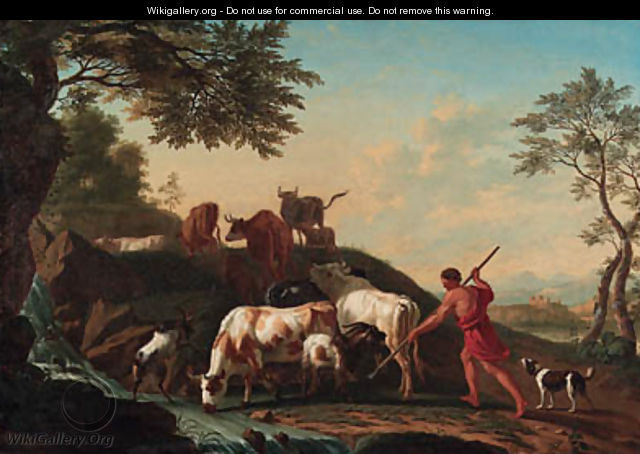 A herdsman with cattle and goats by a stream - Jan van Gool