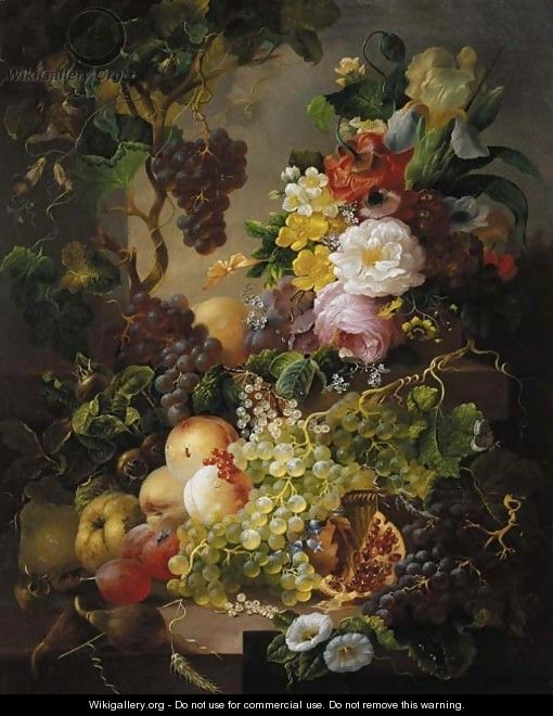 flowers on a ledge a still life with fruit and flowers amongst vines on a ledge jan