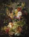 A still life with fruit and flowers amongst vines on a ledge - Jan Van Der Waarden