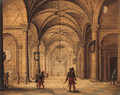 The Interior of a Cathedral with Soldiers in the foreground - Jan van Vucht