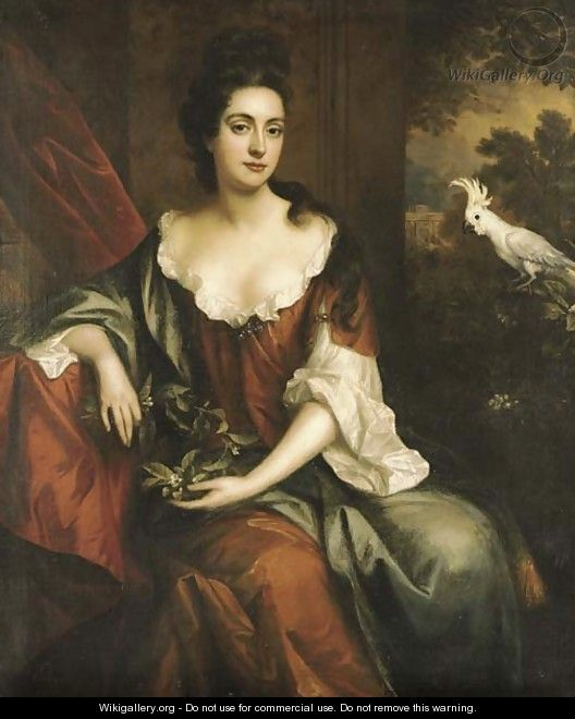 Portrait of a lady, three-quarter-length, seated in a brown dress with a blue cloak, holding orange blossom, by a red curtain with a white cockatoo - Jan van der Vaart