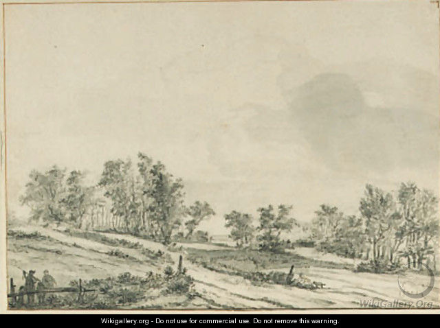 An wooded landscape with travellers by a fence - Jan van der Meer