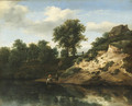 A wooded river landscape with figures conversing and a horse watering, a cottage on a hill beyond - Jan the Elder Vermeer van Haarlem