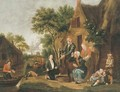 Fishermen selling their catch at a riverside cottage - Jan Van Der Bent
