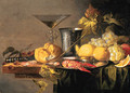 Crayfish and Prawns on a pewter Plate, a Beaker, a faon de Venise Wineglass, a Roll, a Knife, Lemons, Grapes, Cherries and other Fruit - Jan van den Hecke