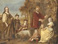 Group portrait of a family, full-length, in pastoral dress, in a landscape - Jan Victors