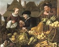 A young woman buying fruit from an old woman at a market, a man smoking a pipe nearby - Jan Victors