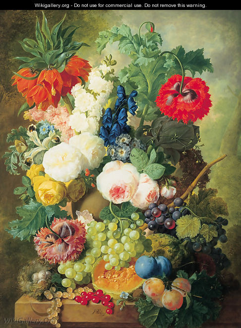 Roses, poppies, a crown imperial lily and other flowers in a terracotta vase, with grapes, plums, a melon and a birds