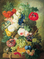Roses, poppies, a crown imperial lily and other flowers in a terracotta vase, with grapes, plums, a melon and a birds' nest on a stone ledge - Jan van Os