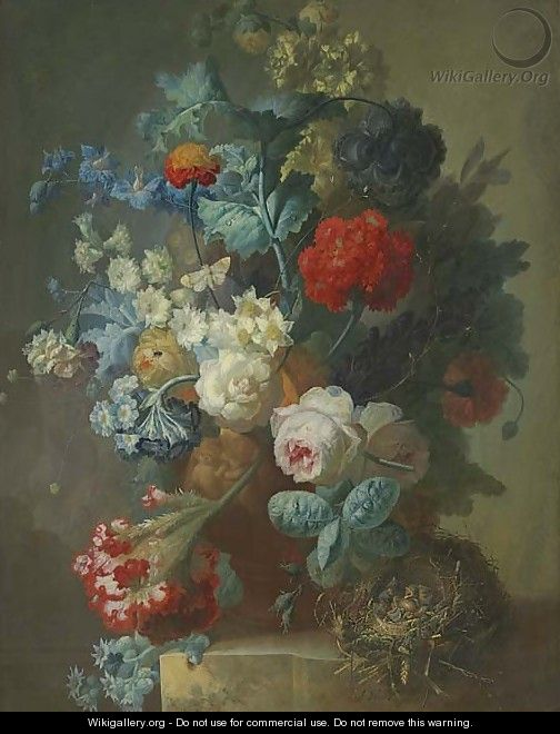 Roses, cineria, cockscombe, auricula, hops, hollyhocks, narcissi, helichrysum, geum and a carnation in a sculpted vase with chicks in a nest - Jan van Os