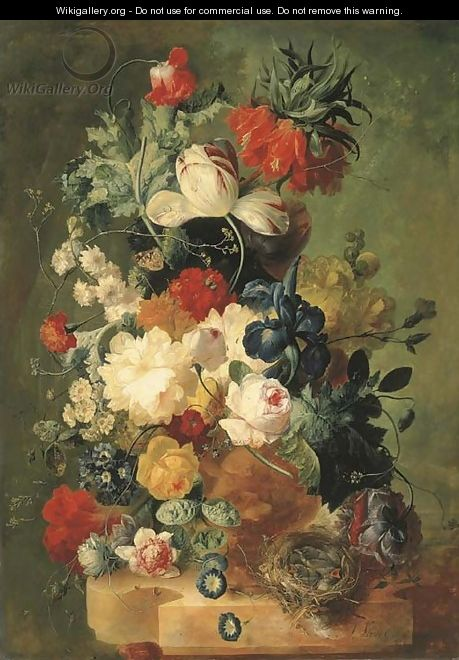 Pink and yellow roses, peonies, an iris, tulips, primulas, hyacinths, a poppy, a coxcomb, fritillaries and other flowers in a sculpted urn with a bird - Jan van Os