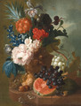 A peony, an iris, a pineapple, blackberries, narcissi and other flowers in a terracotta vase, with a bird's nest, a mouse, a melon, grapes and walnuts - Jan van Os
