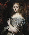Portrait of a lady, half-length, wearing pearls and a grey satin gown with a blue shawl, an ornamental garden beyond - Jan or Joan van Noordt
