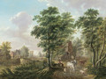 A peasant watering cattle near a farmhouse, in a wooded landscape - Jan Van Limmen
