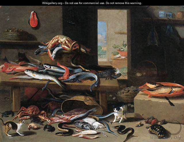 Cats chasing eel, octopus, crab falling from an upturned basket, with a crayfish, sturgeon and other fish on a table nearby - Jan van Kessel