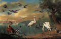 Two spoonbills, a heron, swans, moorhens, bullfinches, kingfishers, a swallow and other birds in a coastal landscape - Jan van Kessel