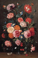 Roses, carnations, morning glory, a poppy and a sprig of cherries in a glass vase, a wall brown, an orange tip - Jan van Kessel