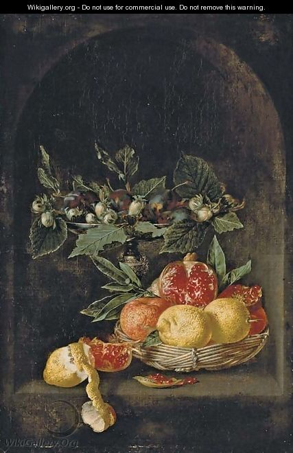 Plums and hazelnuts on a tazza, with lemons, oranges and a pomegranate in a basket on a table, with a partly-peeled lemon and a pomegranate segment - Jan van Kessel