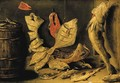Plaice, skate and other fish beside a barrel - Jan van Kessel