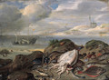 Cuttle-fish, plaice, cod, oysters, mussels and other fish on a dune, a river estuary with shipping beyond - Jan van Kessel