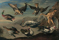 Birds of prey attacking herons and ducks by a pond - Jan van Kessel