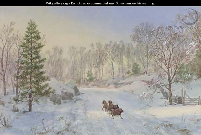 Evening Sleigh Ride, Ravensdale Road, Hastings-on-Hudson, New York - Jasper Francis Cropsey