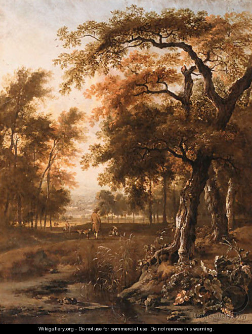 A wooded Landscape with Huntsmen resting by a path - Jan Wynants